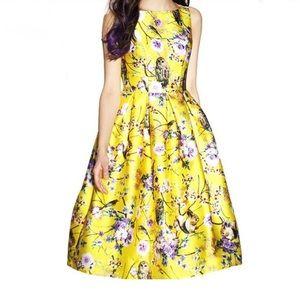 Zara Women's Yellow Owl Novelty Print Dress
